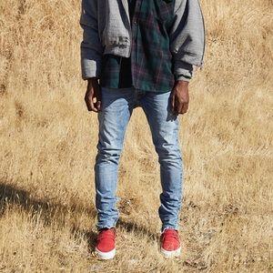 FEAR OF GOD Light Wash Distressed Slim Jeans